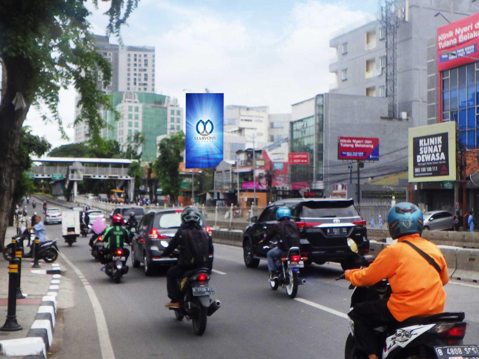 PT. Marvons Media Utama - Warung Jati Barat (Seberang UHAMKA) (MV 135) - 6 m x 12 m x 1 mk Vertikal